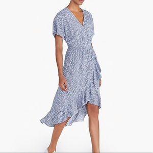 J. Crew Factory V- Neck High-Low Ruffle-Hem Dress